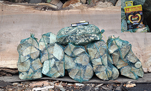 Net bags of Logs from LothianLogs.co.uk